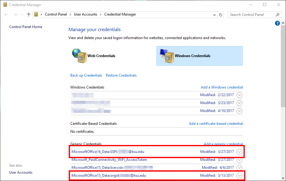 Knowledge - Removing saved email passwords from Outlook