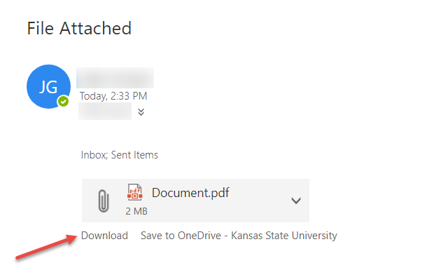 Knowledge - Outlook Web App: Opening and saving email