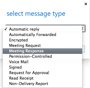 Outlook Web App: Creating a rule for meeting responses