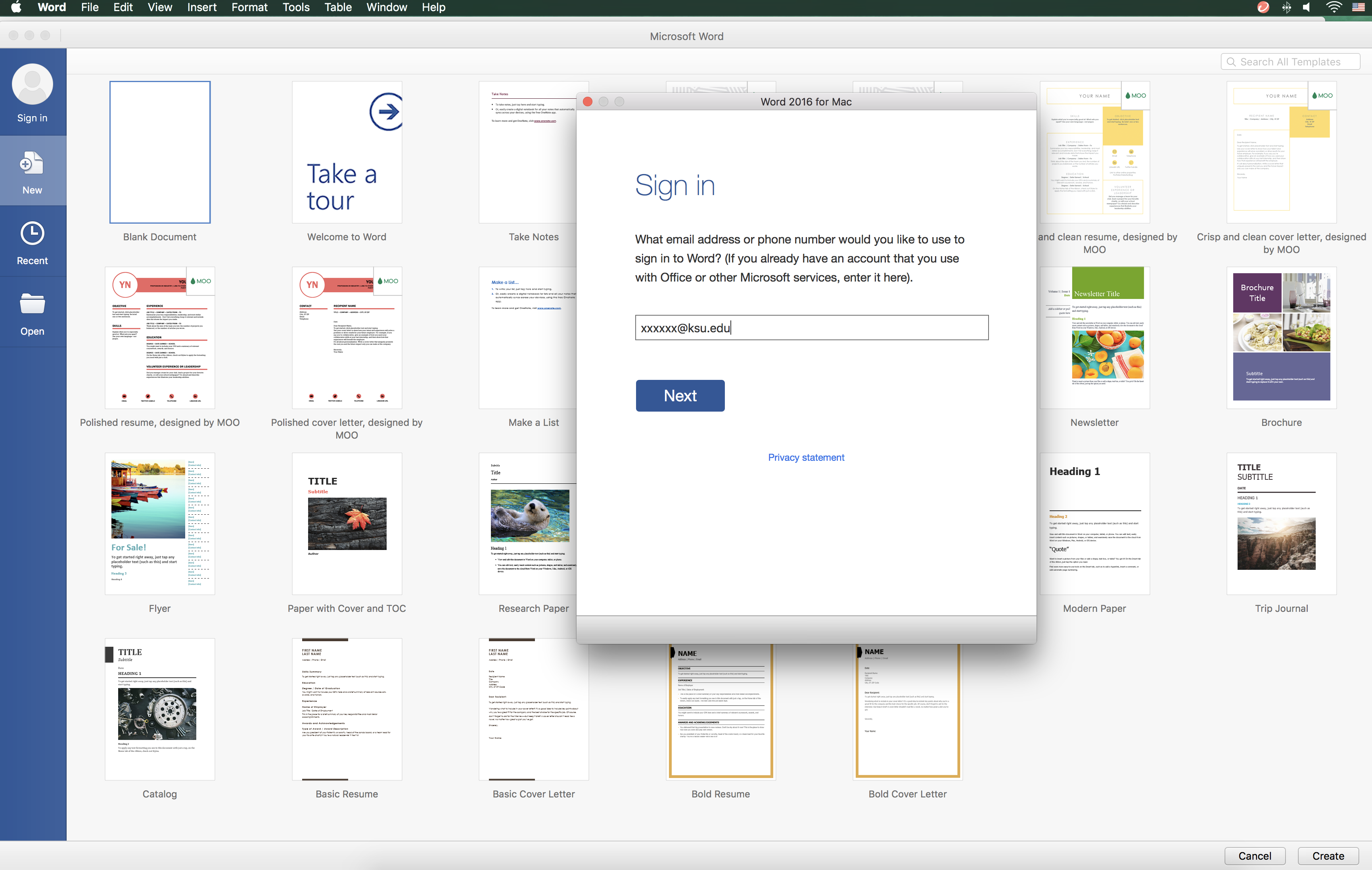 Knowledge - Sign Out/Sign In to Office 365 on Mac OS